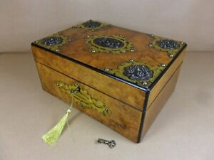 Antique Victorian Burr Walnut Gothic Revival Jewellery Sewing Box C1870 Cd 504