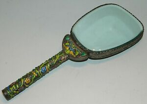 Vintage Chinese Enameled Silver Hand Mirror