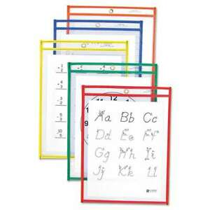 C line Reusable Dry Erase Pockets 9 X 12 Assorted Primary Colo 038944406206