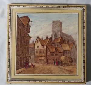 Rodez Cathedral Landscape Scene Minton Large Tile French Interest Colourful