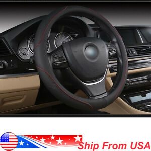 Pu Leather Car Steering Wheel Cover All Weather Black Blue Cover Fit 38cm 15