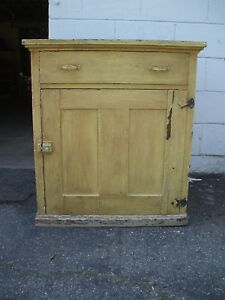 Antique Painted Farmhouse Primitive Cabinet Dry Sink Wash Stand Wainscoting