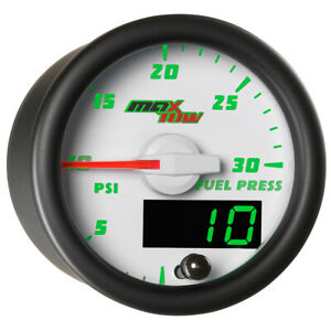 52mm White Face Maxtow 30psi Fuel Pressure Gauge W Electronic Sensor For Cummins