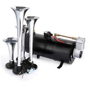 150db Super Loud 12v 4 Trumpet Air Horn Compressor For Car Truck Boat Train
