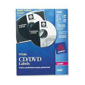 Avery Laser Cd Labels Matte White 100 pack 072782056988