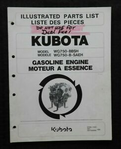 Genuine Kubota Wg750 b sae Bbsh Saeh Gasoline Engine Parts Manual Catalog