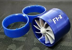 Supercharger Turbonator F1z Fuel Saver Single Blade Air Intake Charger Blue Fan