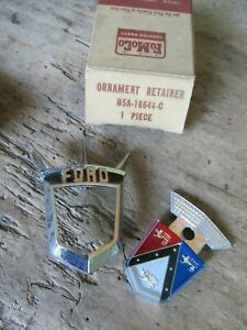 Nos 56 1956 Ford Fairlane Hood Ornament Retainer And Emblem