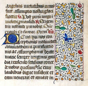 Medieval Illuminated Manuscript Book Of Hours Leaf Gold In Borders
