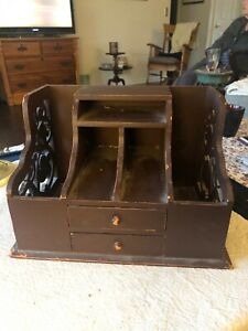 Vintage 2 Drawer Wooden Office Desk Organizer Mail Rack Desktop Counter