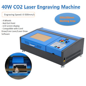 Upgraded 40w Usb Co2 Laser Engraver Engraving Cutter Cutting 300x200mm 4 Wheels