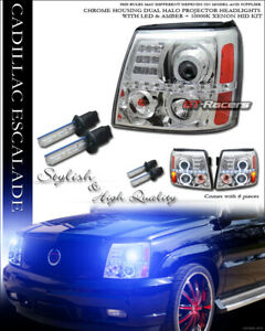 10000k Hid Xenon Chrome Led Halo Projector Headlights Signal For 02 06 Escalade