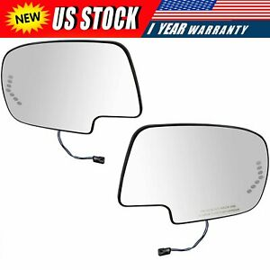 Mirror Glass Power Heated Left Right Pair Set For Chevy Silverado Gmc Cadillac