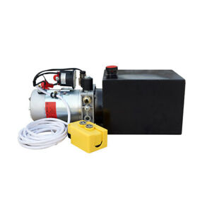 6 Quart 12v Hydraulic Pump Power Supply Unit Pack Single Acting For Unloading 6l