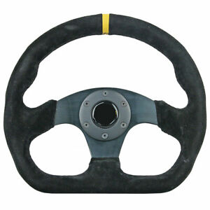 330mm Mm Suede Leather Sports Racing Steering Wheel Can Fits Momo Boss Kit 002