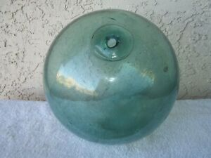 Large Vintage Japanese Glass Teal Fishing Float Buoy 37 1 2 Circumference Japan