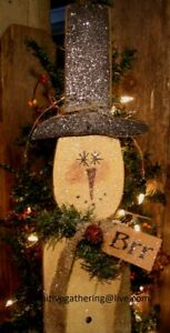 36 Primitive Glittered Wood Winter Snowman With Hat Brr Tag Sign Greeter Tuck