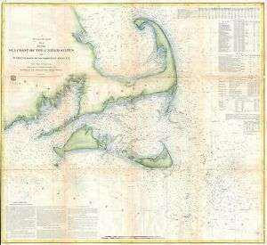 1857 Coastal Map Nautical Chart Of Cape Cod Nantucket And Martha S Vineyard