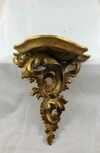 Vintage Italy Carved Wood Rococo Wave Bronze Gold Wall Shelf Sconce