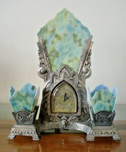Antique Art Deco Lux Clock Waterbury Conn Wind Up Clock And Lamp