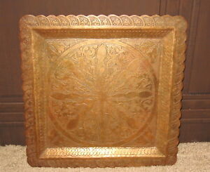 Fabulous Arts Crafts Ornate Copper 13 Tray