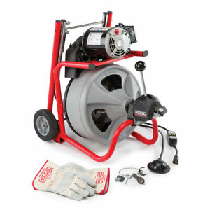 Ridgid 27008 K 400 Drum Machine With C 32 Iw Cable Gloves Autofeed