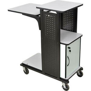Luxor Steel Heavy Duty Projector Stand Av Cart W Locking Storage Cabinet 3