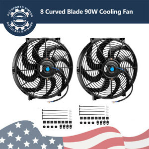 2 14 Inch Electric Cooling Fan Slim Pull Push 2550cfm Radiator 80w Mount Kit