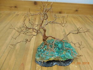 Vintage Handmade Mid Century 8 Copper Wire Tree With Coral Jade Base