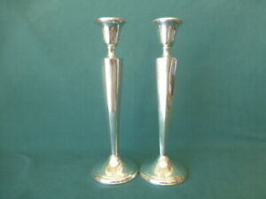 Pair Of Crown Sterling Silver Weighted 9 3 4 High Candlesticks
