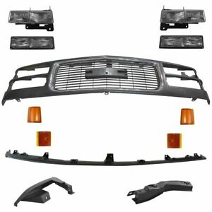 Front Headlight Corner Parking Lamp Kit With Black Chrome Grille For Gm Truck