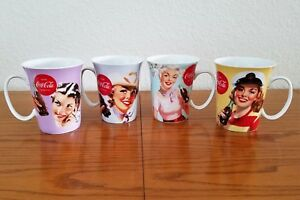 Set Of 4 Coca-Cola Mugs / Cups Featuring Vintage Advertisements