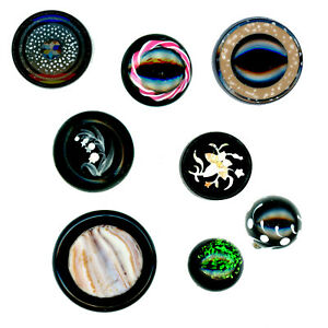 Buttons Assorted Embellished Victorian Black Glass