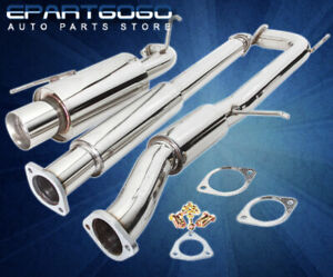 For 98 02 Accord F23 2 3l Stainless Steel 2 5 Catback Exhaust 4 Tip Silencer