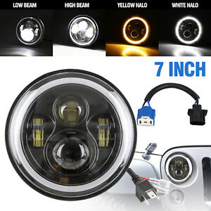 7 Round Cree 80w Led Headlight Halo Angle Eyes Hi lo Beam Drl For Jeep Wrangler