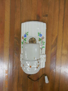 Old Vintage Ceramic Porcelain Wall Sconce Light With Pull Chain