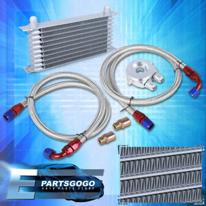 Universal 9 Row An10 Engine Transmission Oil Cooler Filter Relocation Kit Silver