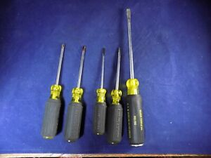 Klein Screw Driver Lot Of 5 602 7dd Cushion Grip Philips Standard