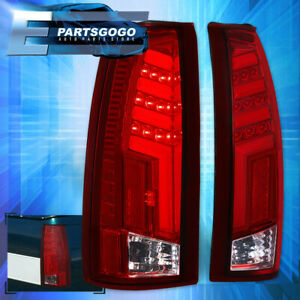 For 1988 1998 Chevy Gmc C10 Chrome Housing Red Led Tube Style Tail Light Lamps