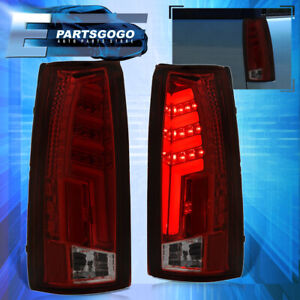 For 88 98 Chevy Gmc C10 C K 1500 2500 Led Brake Tail Lights Lamps Pair Red Smoke