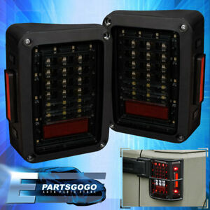 For 07 17 Jeep Wrangler Jk Led Tail Lights Smoke Lens Black Housing Turn Signal