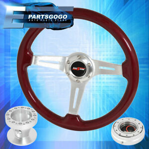 Red Wood Deep Dish Steering Wheel Slim Quick Release Hub For 96 00 Civic