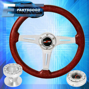 Metallic Red Steering Wheel Slim Silver Quick Release Hub For 96 00 Civic