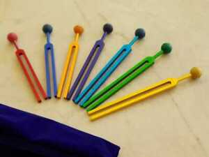 7 Chakra Tuning Fork Set Color Therapy With Removable Color Balls mallet pouch