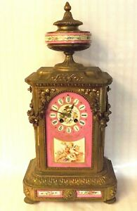 Excellent 19th Century Ph Mourey French Hand Painted Porcelain Mantle Clock