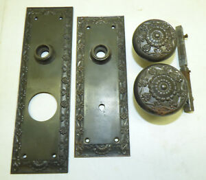 Antique Cast Iron Victorian Entry Door Plates Knobs Set Fancy Shell Scroll