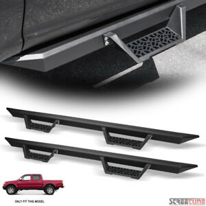For 01 04 Tacoma Double Crew Matte Black Modular Drop Step Bars Running Boards
