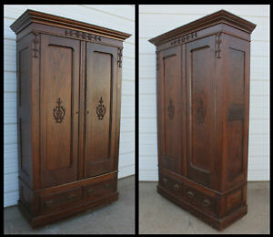 Antique Oak Hand Carved Knock Down 2 Door Wardrobe Armoire Cabin Clothes Closet