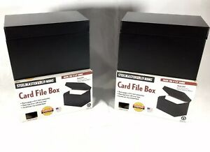 Steelmaster Steel Card File Box Fits 4x6 Index Cards 700 Card Capacity Lot Of 2