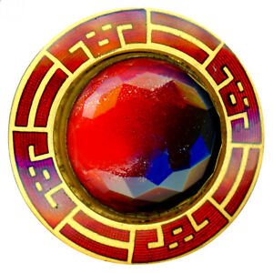 Button Large Vintage Enamel Bordered Red Paint Under Glass